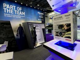 Panasonic Toughbook exhibition stand at DSEI by SHAPES