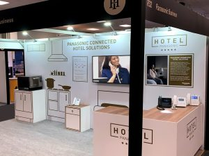 Panasonic Toughbook exhibition stand at the Independent Hotel Show by SHAPES